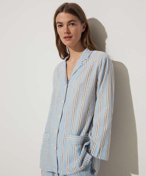 Blue stripe cotton and linen shirt