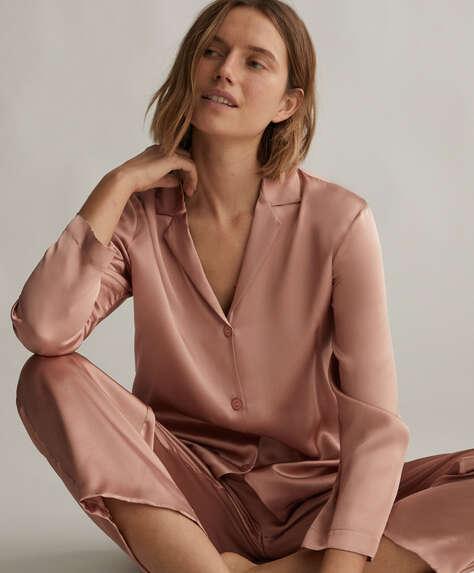 قميص وردي 100% من الحرير