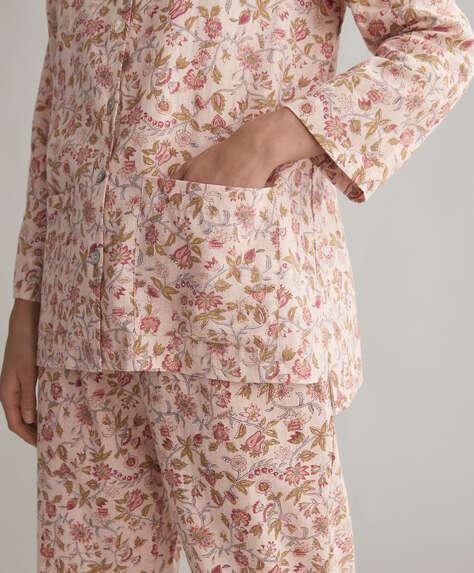 قميص 100% من القطن وردي مع طبعة أزهار