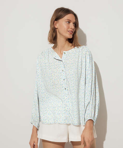 Blue ditsy floral wide sleeve shirt
