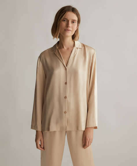 Plain 100% silk shirt