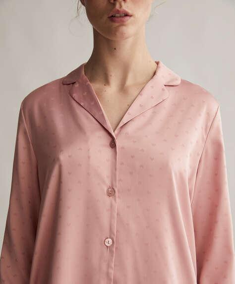 Koszula w drobny różowy deseń w serduszka