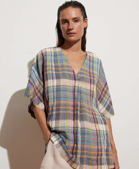 Checked 100% linen shirt