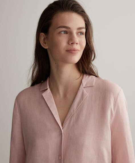 قميص زهري من الكتان