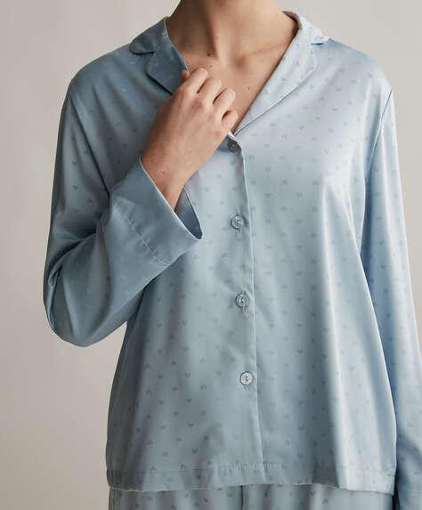 Hemelsblauw shirt met lange mouwen en hartjes