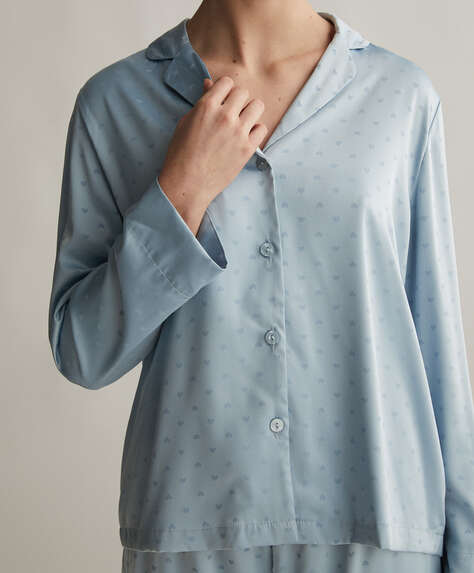 قميص طويل لون أزرق سماوي بقلوب