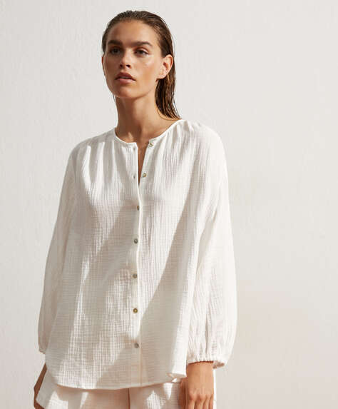 100% cotton voile button-through shirt