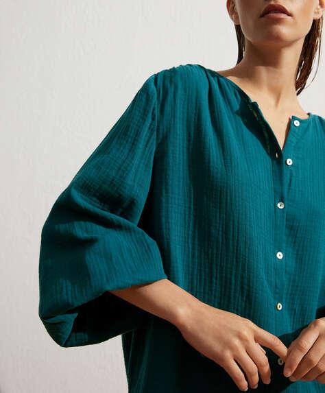 100% cotton voile button-through shirt