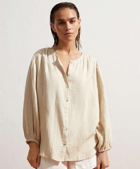 100% organic cotton voile button-through shirt