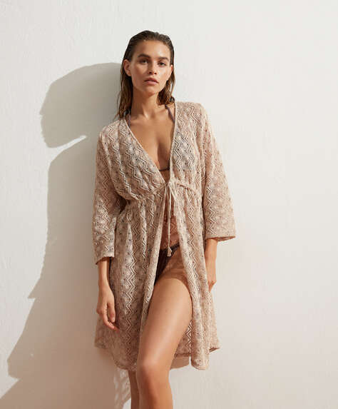 Short crochet open tunic in cotton