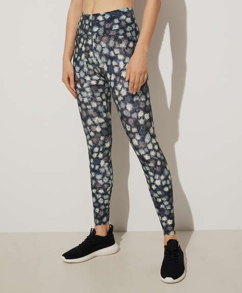 Water lily print compression leggings