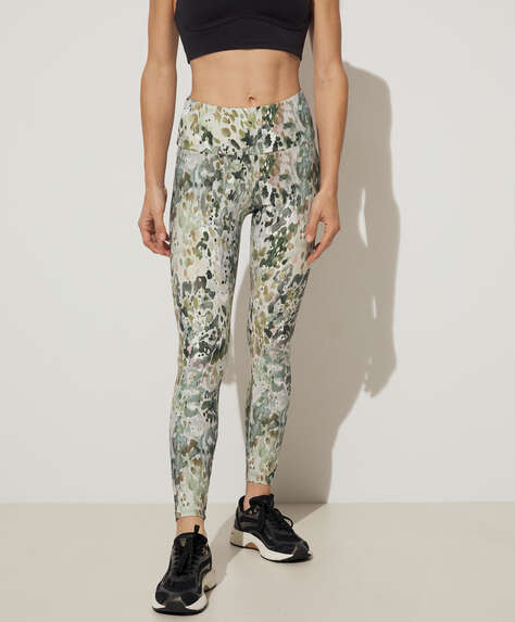 Camouflage print compression leggings