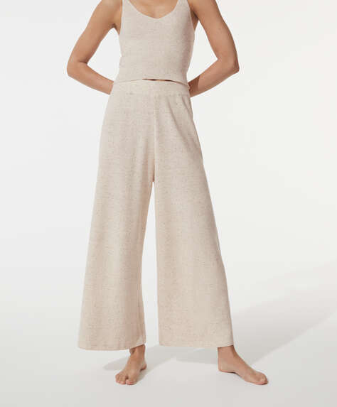 Knit marled cotton ankle-length trousers