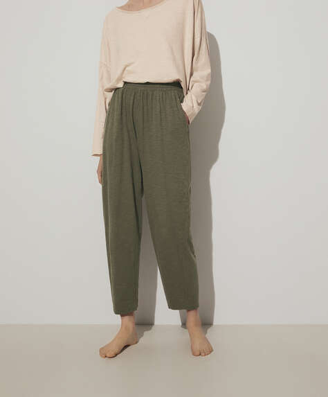 100% slub cotton trousers