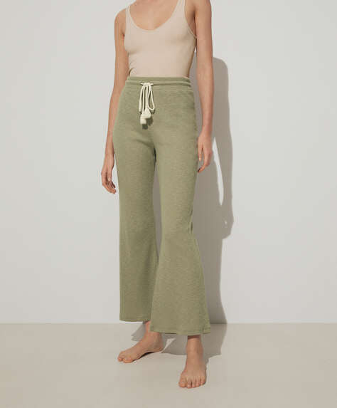 100% slub cotton flare trousers