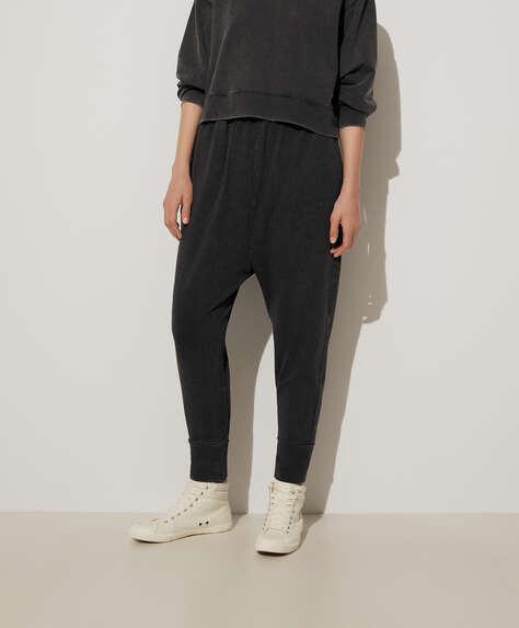 Pantalon baggy en coton délavé