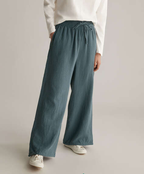 Wide-leg 100% cotton chiffon trousers
