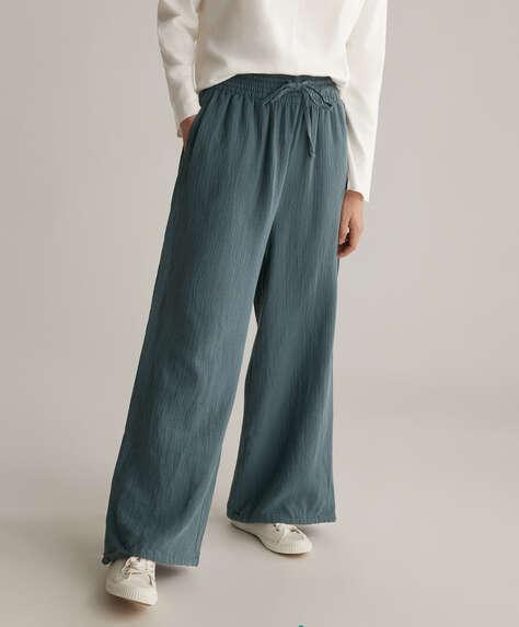 Wide-leg 100% cotton chiffon trousers