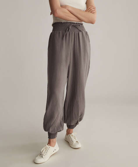 Baggy 100% cotton chiffon trousers