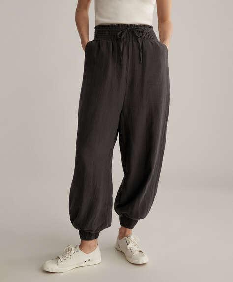 Baggy 100% cotton chiffon trousers