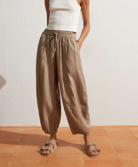 Pantalon large 100 % lin