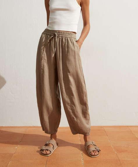 100% linen wide-leg trousers