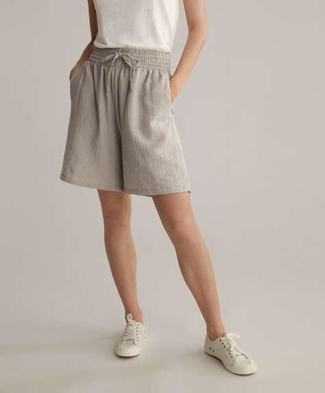 100% cotton chiffon Bermuda shorts