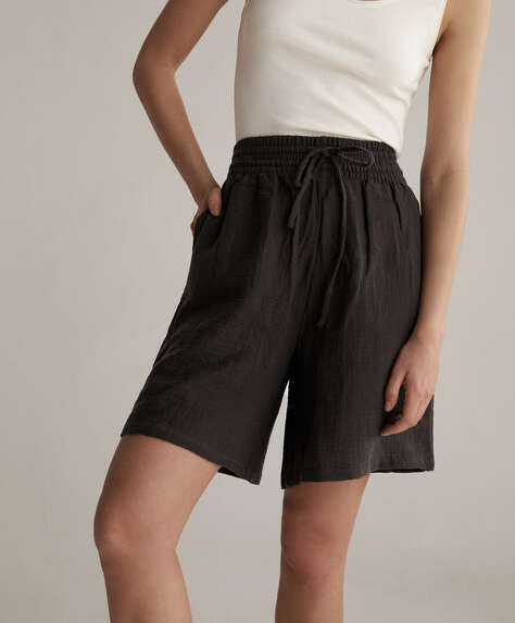 100% cotton chiffon Bermuda shorts