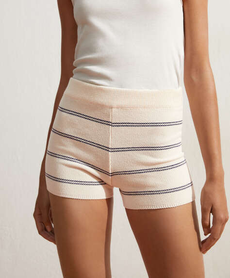 Stripe cotton shorts