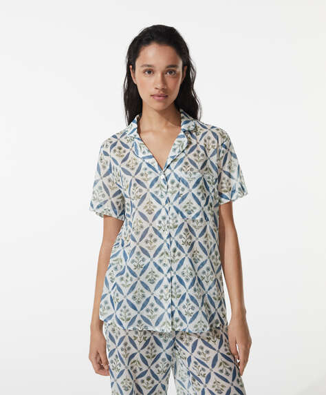 100% cotton floral short shirt