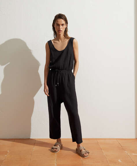 100% cotton harem jumpsuit