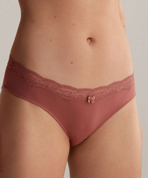 7 microfibre and lace hipster briefs