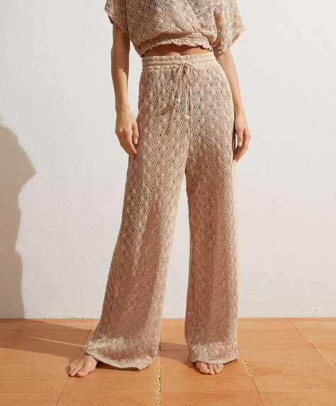 Cotton crochet trousers
