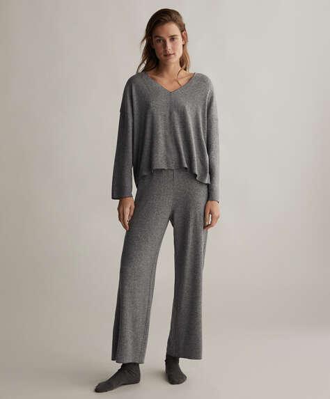 Plain comfort feel wide-leg trousers