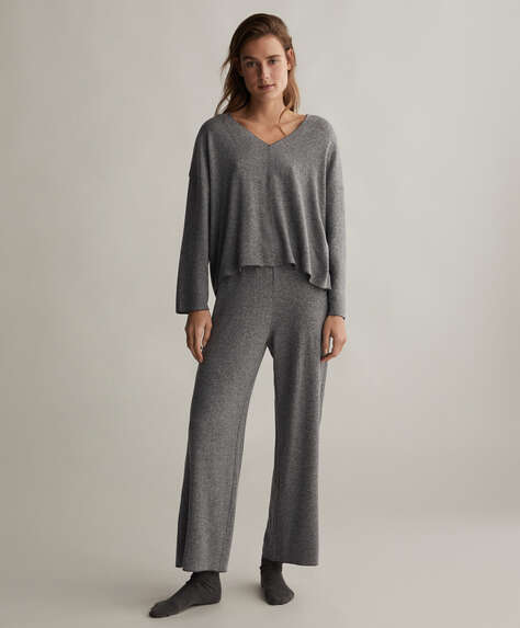 Plain comfort feel wide-leg trousers