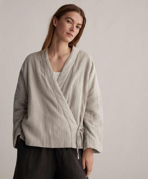 Casaco quimono em chiffon 100% algodão