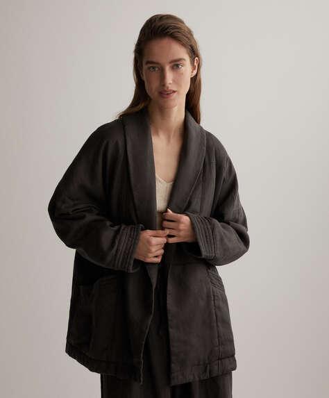 Kimonovest van 100% linnen