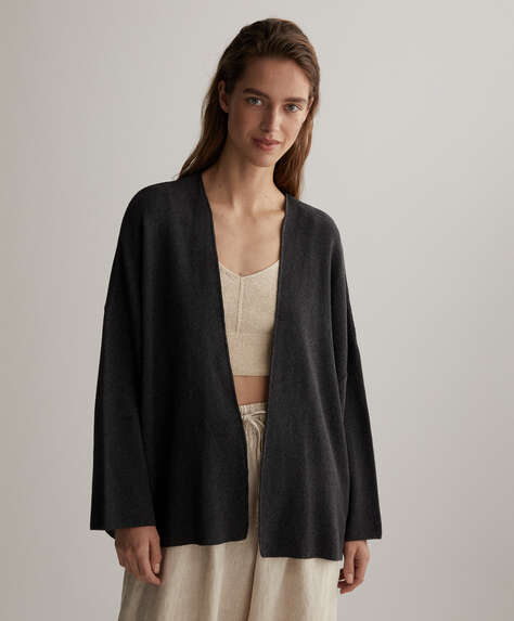 Knit cotton cardigan jacket