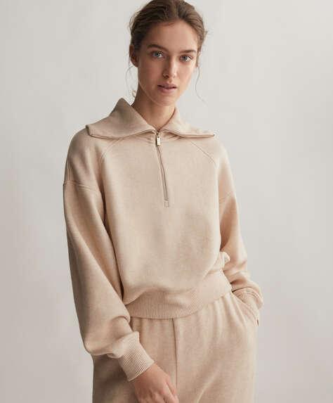 Half-zip knit sweatshirt