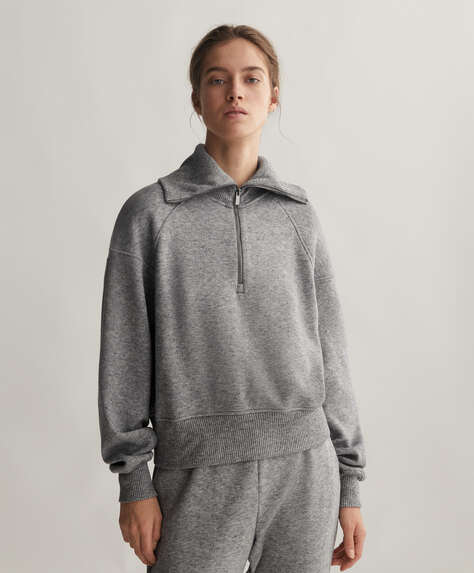 Sweat en maille à zip