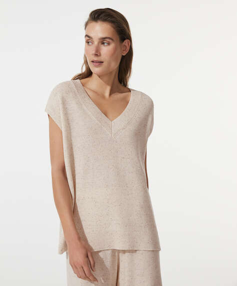 Knit marled cotton T-shirt