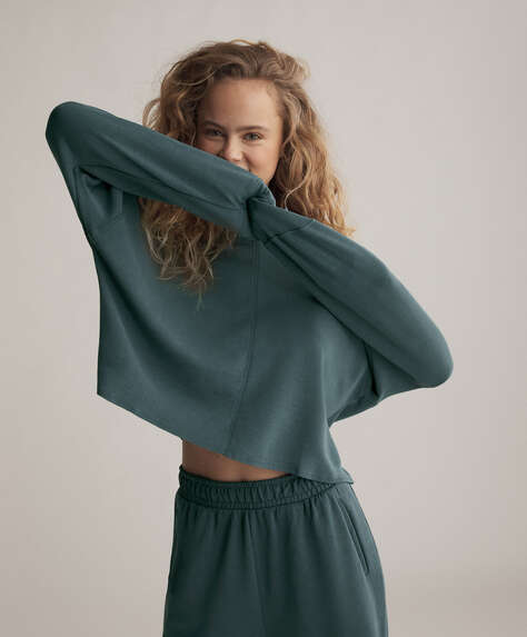 Soft touch modal crop sweatshirt