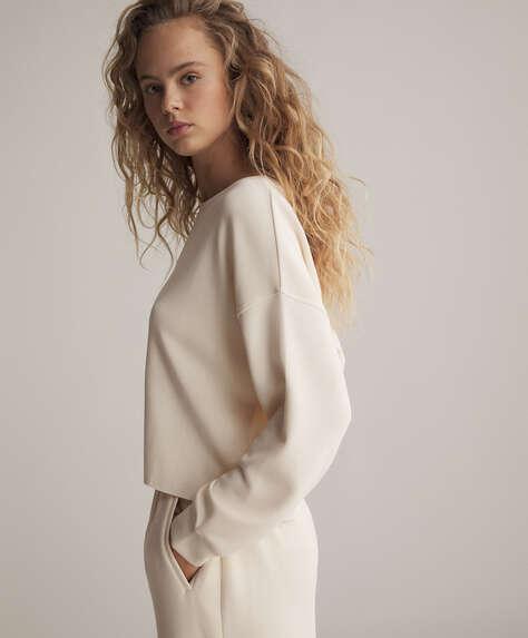 Soft touch modal crop sweatshirt