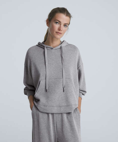 Sweatshirt i soft-touch stof