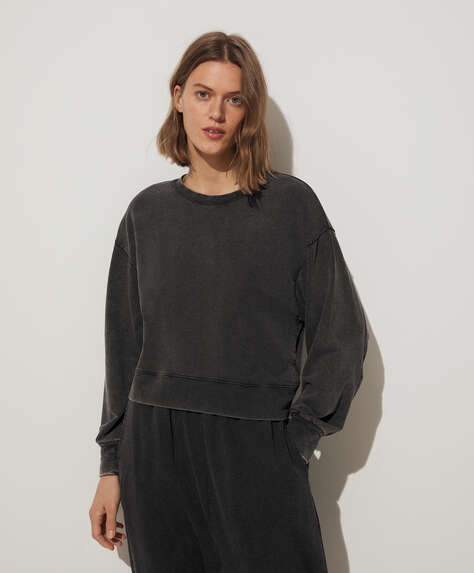 Wash cotton sweatshirt
