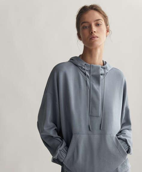 Modal sweatshirt with large front pocket