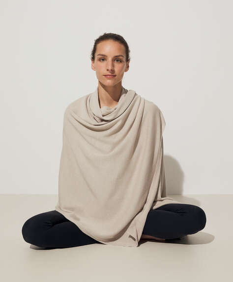 Cotton and silk yoga blanket