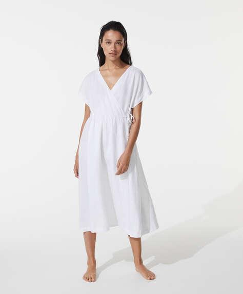 %100 keten çapraz elbise