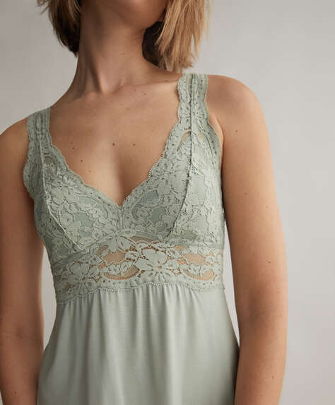 Halter-style nightdress with removable cups
