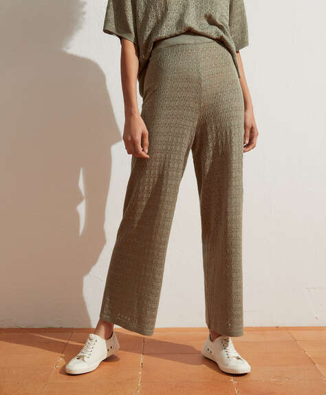 Pointelle knit ankle-length trousers
